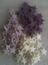 150 x Edible fondant icing stars - cake topper white/purple/lilac
