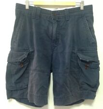H301 Polo Ralph Lauren Mens Navy Cargo Shorts Buttoned Size 34