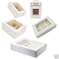 WHITE CUPCAKE/MUFFIN BOXES FOR 1 4 6 OR 12 CUPCAKES WITH CLEAR DISPLAY WINDOW