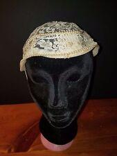 Vintage Wedding Cap Beige Lace Cap Hat w/ Pearls Bridal Bride Fascinator