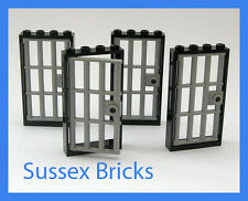 Lego City - 4x Prison Barred Doors Grey Frames Jail Cell Castle Dungeon - New