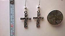 "Easter or everyday cross earrings Silver (Nickel free) 1 3/4"" dangle hooks"