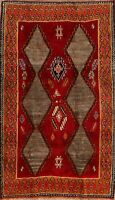 Vintage Tribal Gabbeh Geometric Hand-Knotted Area Rug Wool Oriental Carpet 4x7