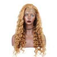 Golden Blonde Full Lace Human Hair Wig Curly Virgin European Remy Lace Front Wig