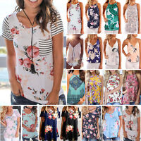 Women Summer Short Sleeve Floral Casual Blouse Top Loose T Shirt Casual Tee TOPS