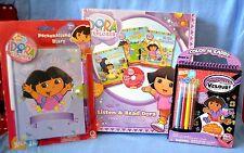 LARGE SET Dora EXPLORER Color CARRY DIARY Listen READ CD 3 Books Velour Posters