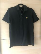 Mens Lyle And Scott Polo Shirt Black Medium M Short Sleeve