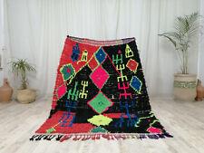 Berber Handmade Moroccan Boujaad Carpet 4'2x5'6 Vintage Bohemian Black Pink Rug