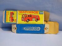ORIGINAL VINTAGE EMPTY MATCHBOX BOX FOR 35 MERRYWEATHER FIRE ENGINE TOY TRUCK