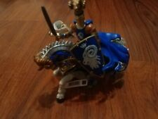 2007 Papo Medieval Knight & White Blue Unicorn Battle Horse Action Figure Toys