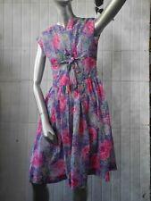 Rockabilly Kleid S-M Blumen semi-transparent 60er TRUE VINTAGE 60s nylon dress