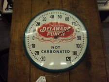 """VINTAGE DELAWARE PUNCH SODA ROUND THERMOMETER 12""""    877-X"""