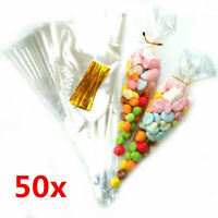 50Pcs Clear Cellophane Cone Bags Large size Party Sweet Cello Candy Bag