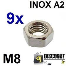 9x Ecrou hexagonal H (HU) - M8 - INOX A2 - DIN 934