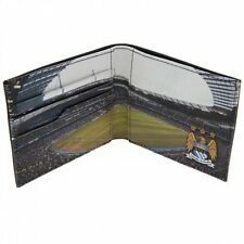 Manchester City Football Club Black Leather Wallet - Stadium Panoramic View
