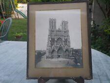 La Cathédrale de Reims  photo albumine dans cadre 28 cm x 23 cm