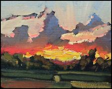 HAWKINS Glowing Sunset Clouds Landscape Impressionism Oil Painting Art  Original