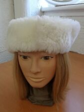 """EXCELLENT WHITE LAMB SHEEP MOUTON FUR HEADBAND HAT WOMEN WOMAN SZ 22"""" X 3"""""""