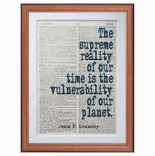 """John F Kennedy /"""" Made To Happen/"""" Quote Poster Print 7/""""x21/"""" On Matte Canvas"""