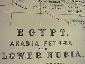 1896 LARGE VICTORIAN MAP ~ EGYPT ARABIA PETRAEA LOWER NUBIA NILE DELTA BELAD