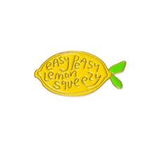 Easy Peasy Lemon Squeezy Enamel Lapel Pin ~ Yellow Lemon Funny Badge Brooch Pin