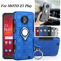 For MOTO Z3 Play, Unique Ring Holder Hybrid Armor Magnetic Shockproof Case Cover