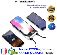 Batterie Externe Secours 2en1 Chargeur rapide Sans Fil USB 30000mAh Power Bank