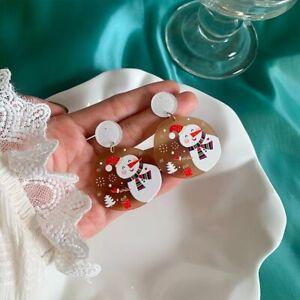Acrylic Resin Christmas Xmas Snowflake Drop Dangle Earring Stud Women Jewelry*