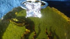NEW white topaz ring,size 12,brilliant rectangle stone,.925 sterling silver