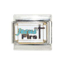 Jesus first white enamel Italian Charm - fits 9mm classic Italian charm bracelet
