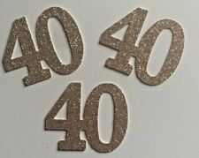 40th birthday fortieth cupcake toppers  glitter cupcake topper X 12