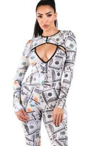 KTOO Catsuit Money $100 Bill Print Soft Sexy Bodysuit Clubwear Bodycon Jumpsuit
