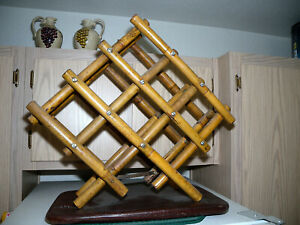 """Unique Collapsible Bamboo Wine Storage Rack 8 Bottle Capacity  24""""x20""""  Free S/H"""