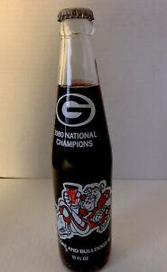 Coca Cola Georgia Bulldogs UGA 1980 National Champions 10 oz Bottle Full