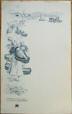 Sardine French 1910 Advertising Menu: Amieux Freres - Women w/Baskets on Seaside