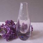 Vintage Kosta Boda Numbered Crystal Bud Vase w Etched Flower Design