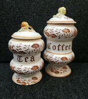 Set Of 2 Original Arnart Brown Onion Tea & Coffee Ceramic Canisters W/Lids