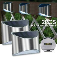 2 X Solar Wall Lights Outdoor Fence Post Step Lights Security Steel 4LEDS