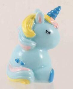 Mini 4.5cm Tall Resin Unicorn Pony Figurine Blue w/ Multicolor Mane/Tail