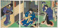 More details for kunichika, triptych, kabuki drama, theatre, original japanese woodblock print