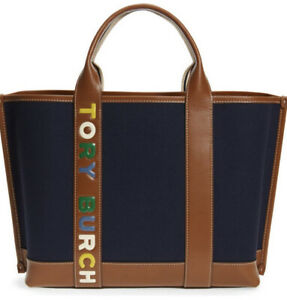 Tory Burch Perry Multi Stripe Canvas Tote  Color Navy Blue Nwt