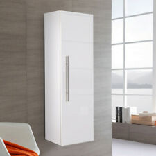 White High Gloss Tall Wall Hung Bathroom Cabinet Cupboard Furniture Storage Unit