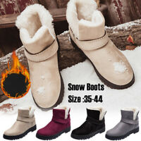 Women's Winter Warm Casual Faux Suede Fur Ankle Boots Non-slip Snow Boots Shoes
