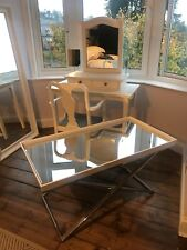 NEXT Butler tray table, Mirrored, Stainless steel & White