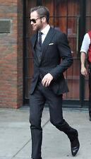 Men's Black Stripes Suit Stylish Designer Wedding Dinner Suits (Coat+Vest+Pants)