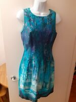 Coast blue cotton blend rain forest sleeveless mini dress size 8 UK.