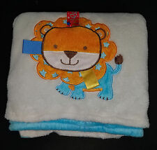 """Taggies LION White/Blue Fleece Baby Security Blanket Lovey 30"""" x 40"""" Soft"""