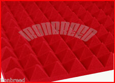 """(48 Pack) 2""""x 12"""" x 12"""" RED Acoustic Pyramid Studio Soundproofing Foam USA Made"""
