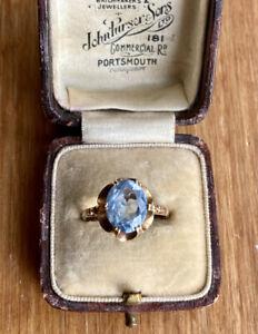 Vintage 9ct Gold Blue Topaz Ring, Statement Engagement Ring