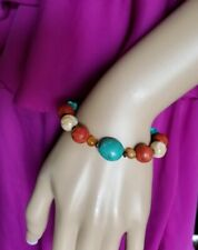 Turquoise Coral Bracelet 7 Inch Native American Silvertone Fashion Handmade